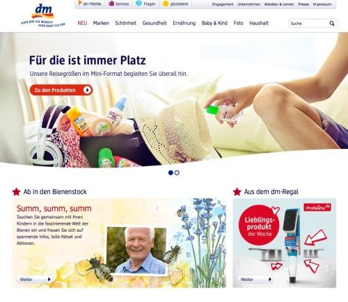 dm-Website ohne Online-Shop