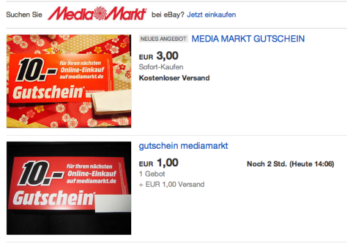 eBay-Suche nach Media Markt