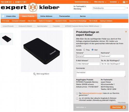 Expert Kleber Produktanfrage