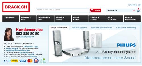 Brack.ch Online-Shop