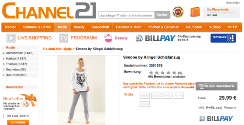 Channel 21 Online-Shop